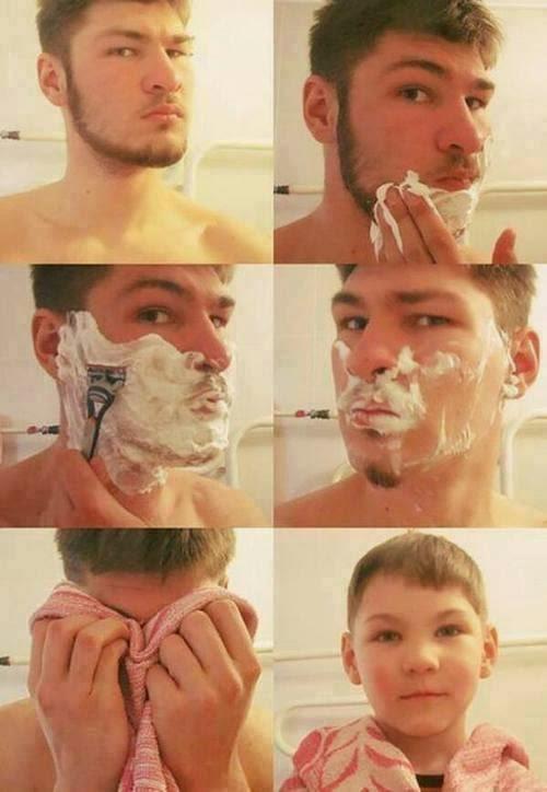 Imagenes de Humor : Antes y despues de afeitarse