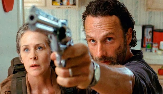 Carol (Melissa McBride) y Rick (Andrew Lincoln) en The Walking Dead 4.04 Indifference