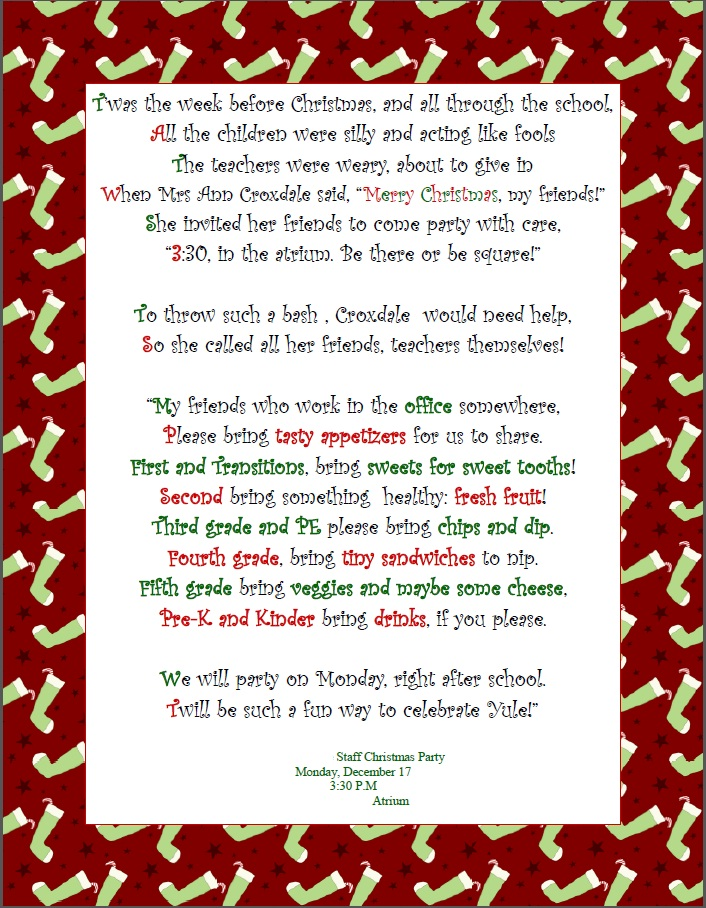 Pretty Christmas Party Invitation Poem Ideas - Invitation Card ...