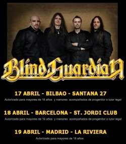 Conciertos de Blind Guardian en Madrid, Barcelona y Bilbao en abril 2015