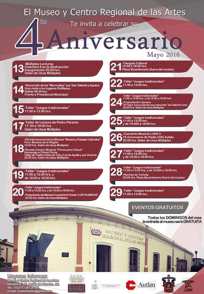 Programa de festejos por el 4° aniversario del Museo Regional