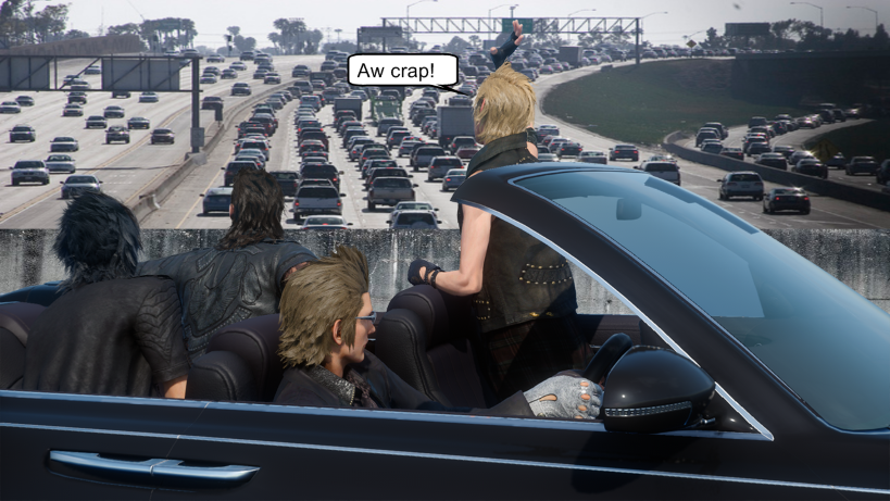Final Fantasy XV traffic jam