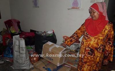 Kutip, barang, lusuh, untuk, hidup, malaysia, berita, Johor Bharu, Siti Jariah Yusuf