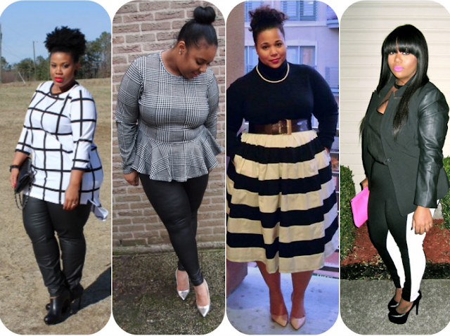 PLUS SIZE FULL FIGURE  CURVY BLOGGERS  IN MONOCHROME