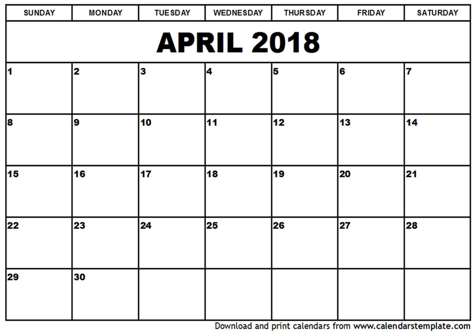free april calendar 2018