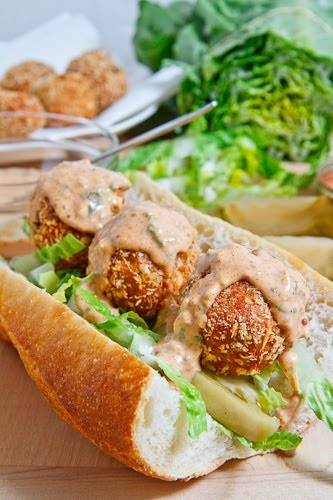 Fried Tuna Ball Po Boy