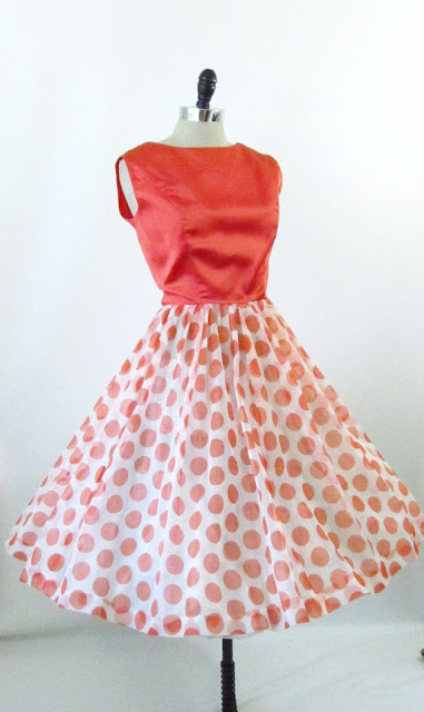 4 Birds Vintage 1960s polka dot dress