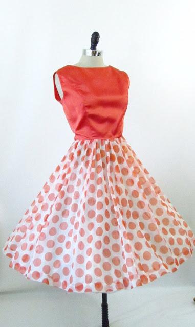 4 Birds Vintage 1960s polka dot dress