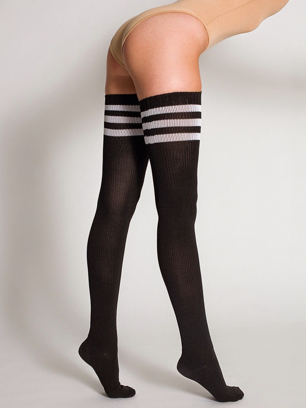 WOMEN'S THIGH-HIGH BLACK KNIT SOCKS WITH THREE WHITE STRIPES
