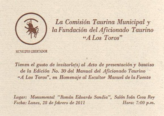 """Bautizo de la Edición Nº 30 del Manual del Aficionado Taurino """"A"""