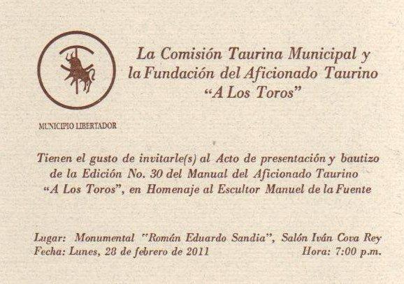 invitacin a presentacin y bautizo del manual taurino 2011