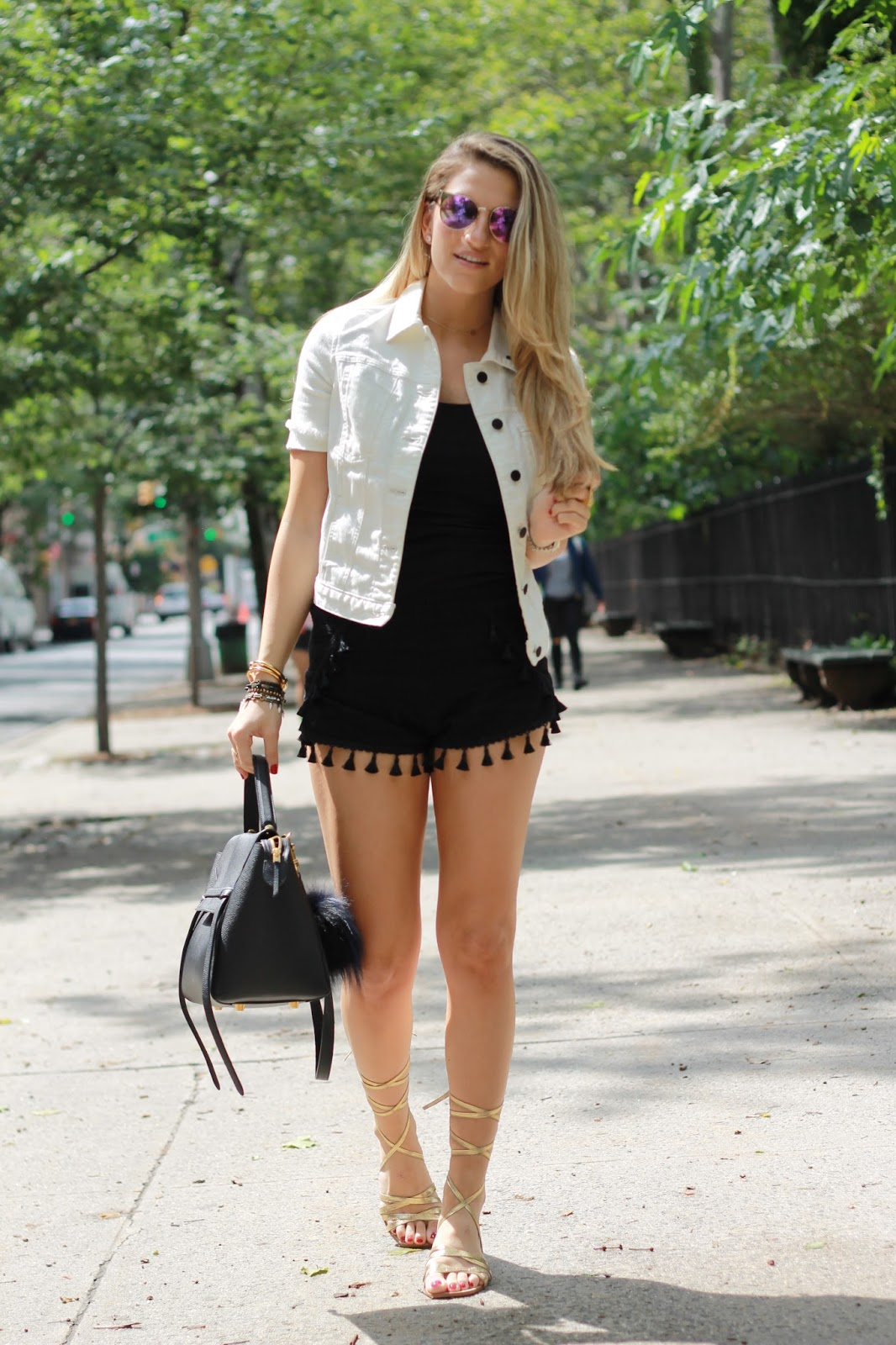 gold lace up sandals, white denim jacket outfit