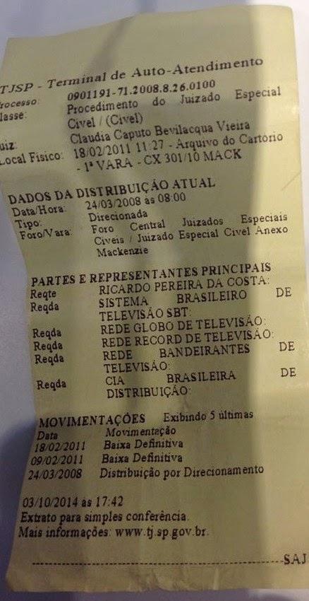 TENTATIVA DE PROCESSO CONTRA S.B.T,REDE GLOBO,RECORD,REDE BANDEIRANTES E SUPERMERCADO EXTRA.