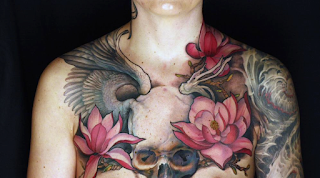 skull tattoo / flower tattoo