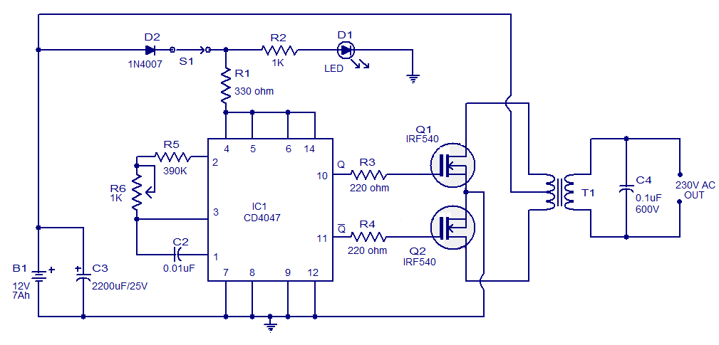 simple circuit schematic 100w inverter using ic cd4047 and