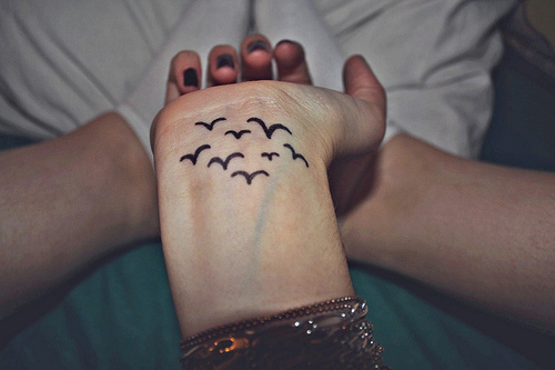 Bird tattoo wrist tumblr