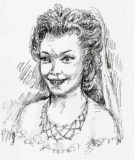 Romy Schneider als Kaiserin Sissy ?, or Empress Sissy, oder Kaiserin Elisabeth von Österreich, Zeichnung, Künstler unbekannt