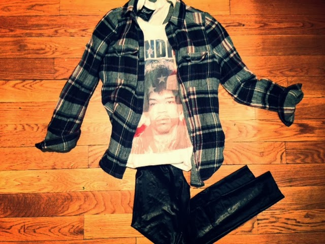 Bravado Hendrix tee, Jimi Hendrix shirt tee, Paige denim flannel button-up, plaid hipster Brooklyn shirt, Hipster style, Zara faux leather pants, J.Crew leather pants, how to wear leather pants, how to wear flannel and leather together
