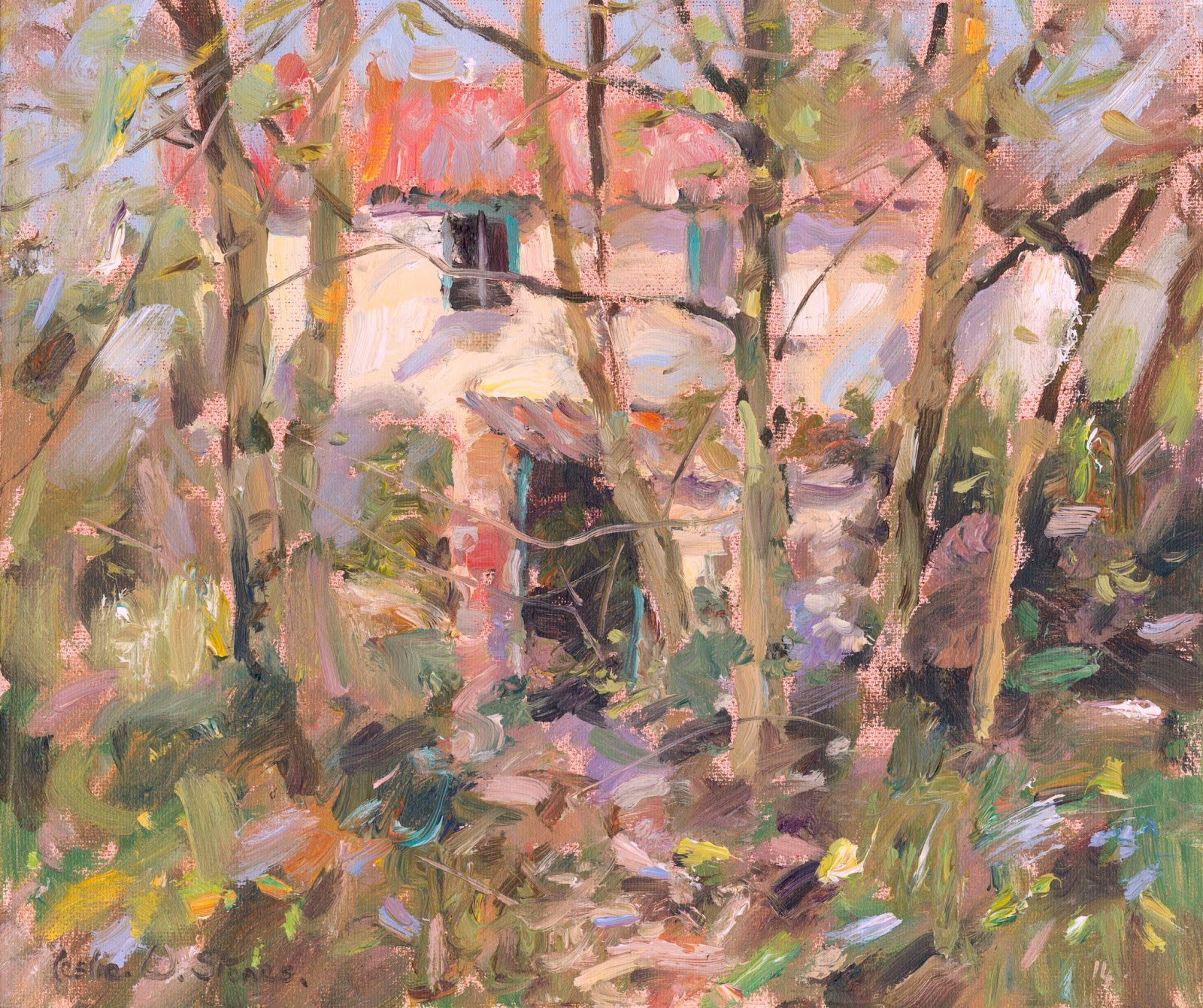 loose colourful oil painting of abandoned cottage in a woodland