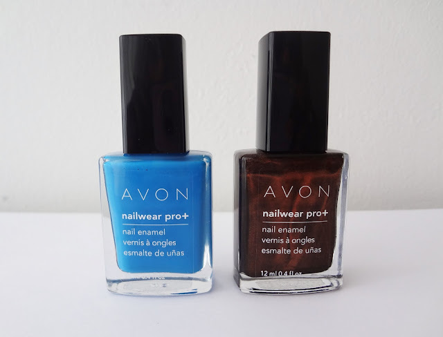 AVON nailwear pro nail enamels in Arctic Waters and Deluxe Chocolate.