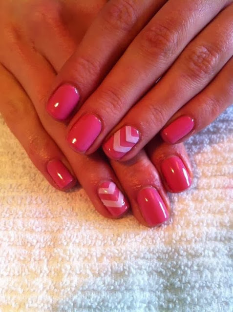 This is an acrylic overlay or a gel overlay on her natural nails for toughness + a LED polish manicure  design in 'hottest pink' and chevron feats Pedicure Gel-Nails-Polish--LED-Nails-Acrylic-Nails-Nail-Art