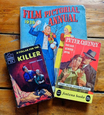 Three books: two 1950s crime novels, and a 1939 film annual