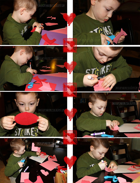grandboy decorating valentines card