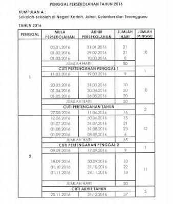 jadual cuti 2016, cuti umum, cuti negeri-negeri, cuti sekolah