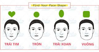 Chọn hình dáng gương mặt theo bảng này