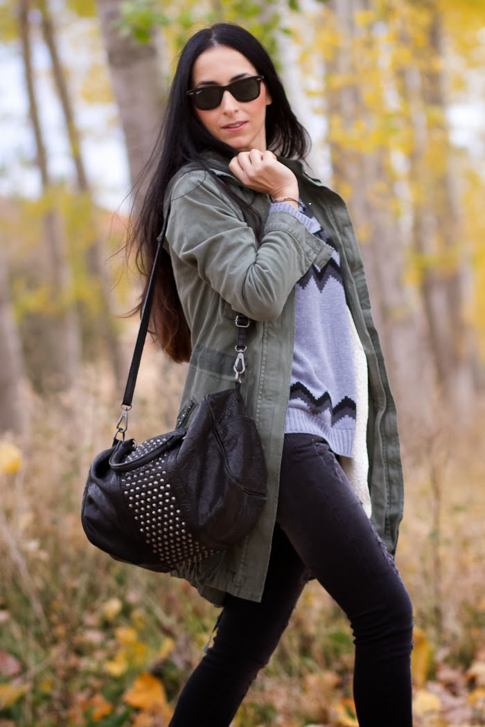 Green embellished Parka and studded bag