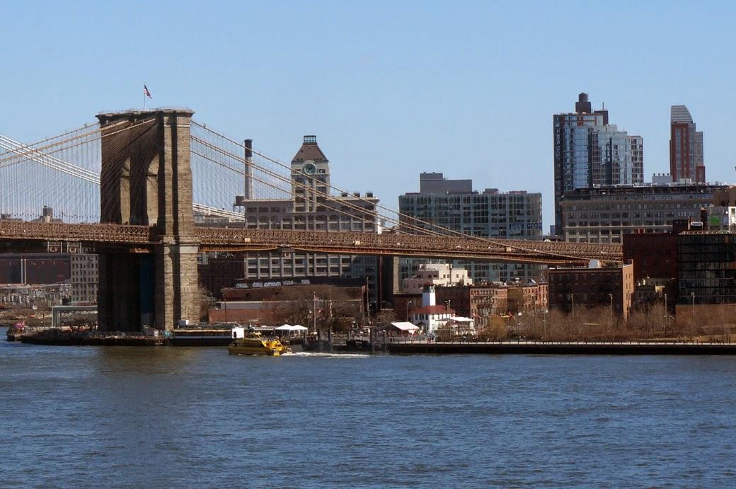 Brooklyn Bridge, Fireboat House, ferry landing and Brooklyn Bridge Park from Manhattan