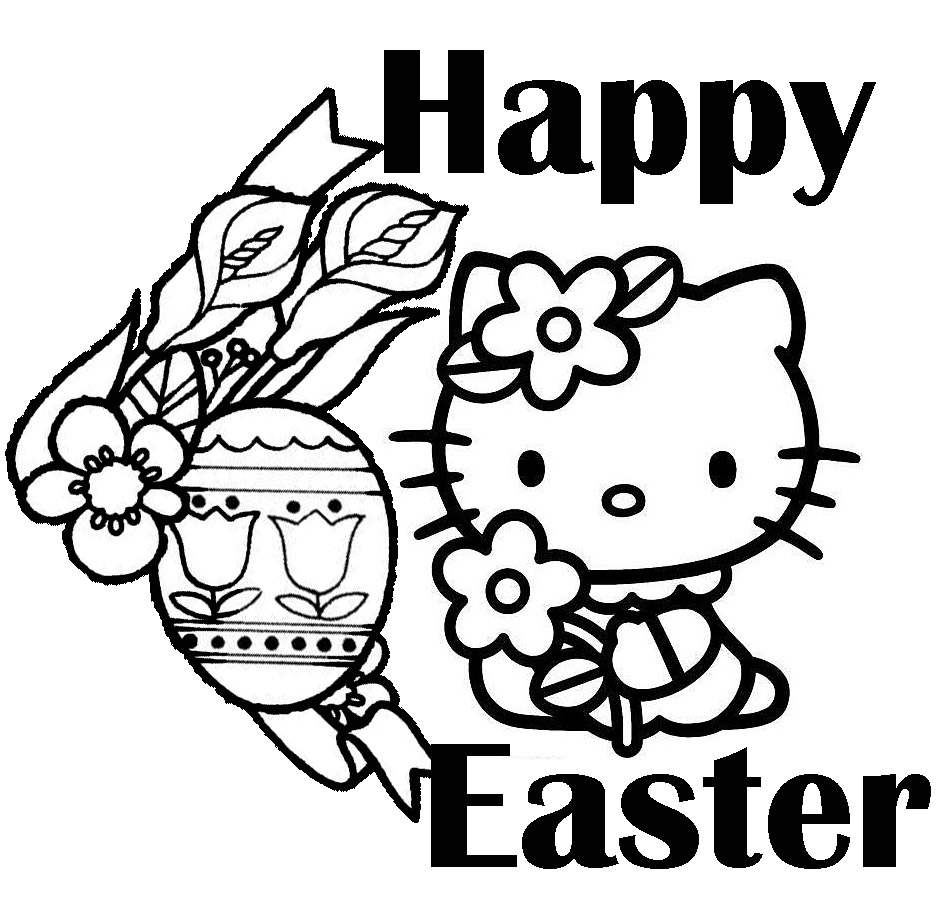 EASTER COLOURING HELLO KITTY TO PRINT AND COLOR EASTER COLORING