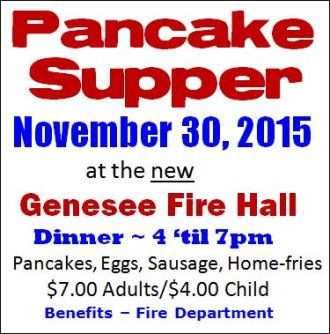 11-30 Pancake Supper, Genesee VFD