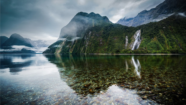 New Zealand Lake Mountains Mist Falls HD Wallpaper