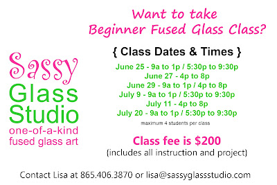 Sassy Glass Studio teaches fused glass class in Knoxville Tennessee