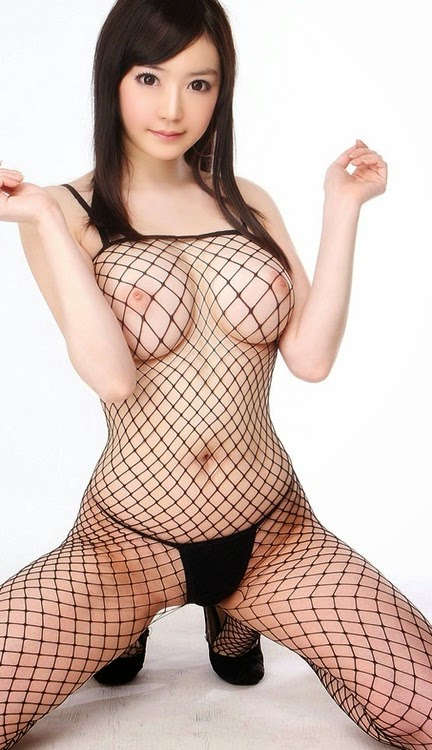 Asian in fishnets big tits