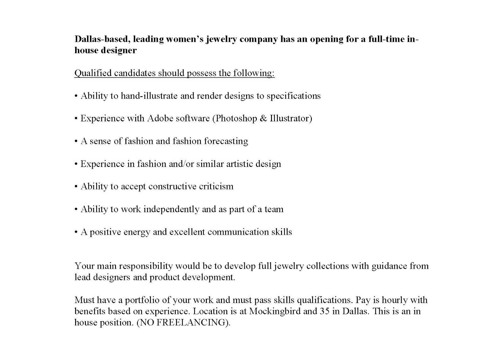 jewelry designer position open at barse jewelry - Fashion Design Cover Letter