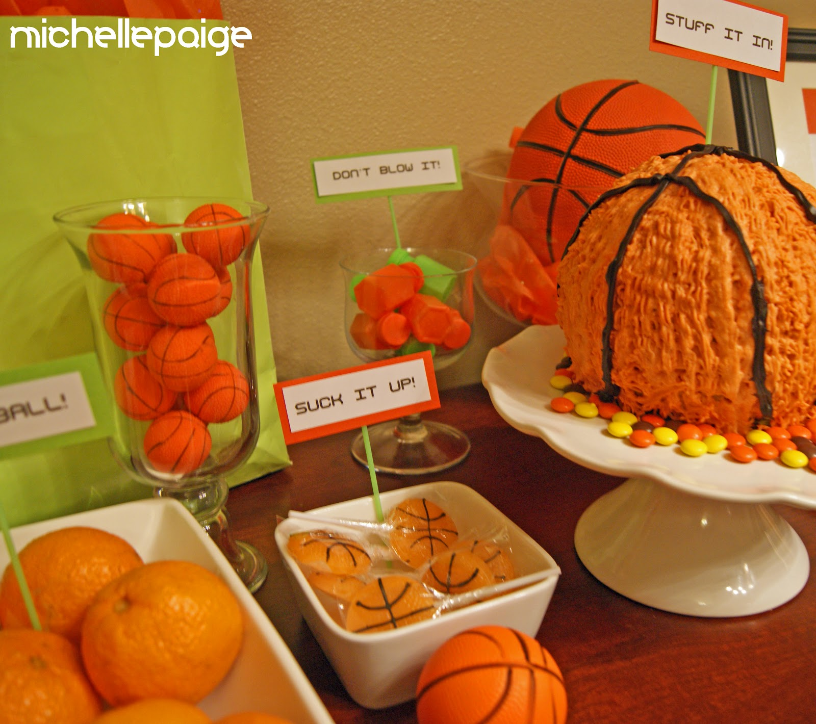 Michelle paige blogs basketball party march madness for Basketball craft party ideas