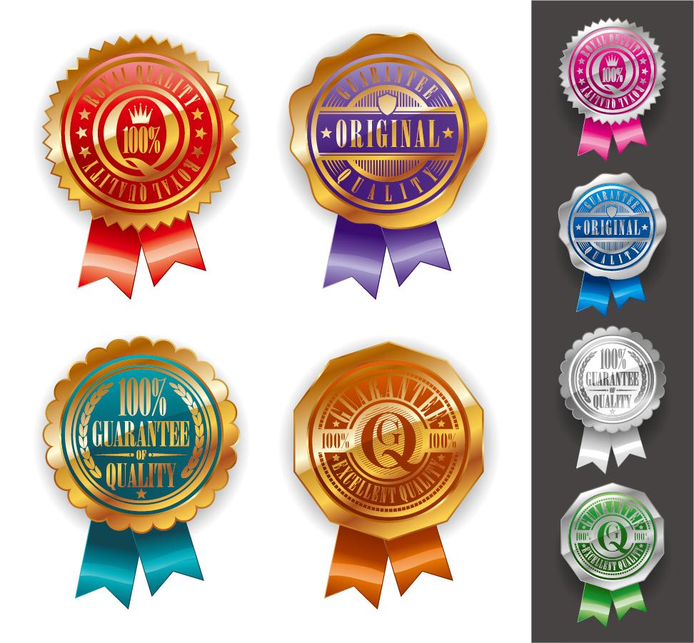 金色に輝くメダル デザイン テンプレート Medal certificate badge gold イラスト素材