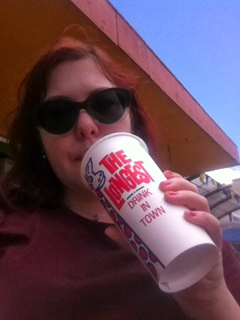 A selfie with a milkshake - The Longest Drink In Town.