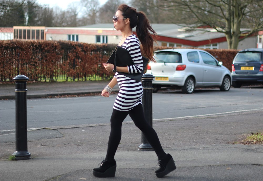 black and white stripy dress, monochrome dress, monochrome, stripes, black wedged creepers