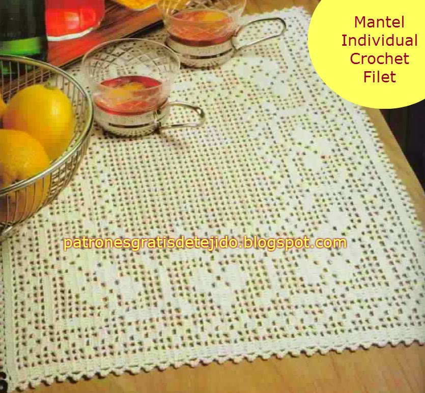 mantel individual tejido crochet filet