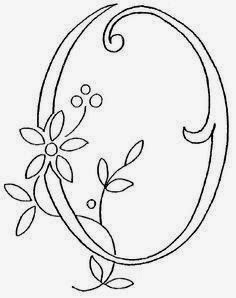 O flower calligraphy monogram tattoo stencils