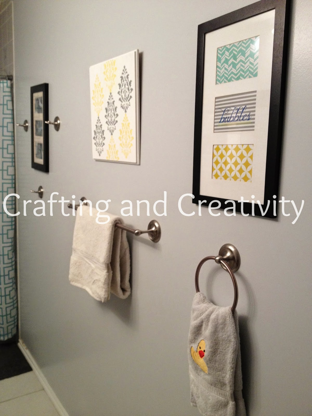 Crafting and creativity blue grey yellow bathroom decor for Blue and gray bathroom accessories