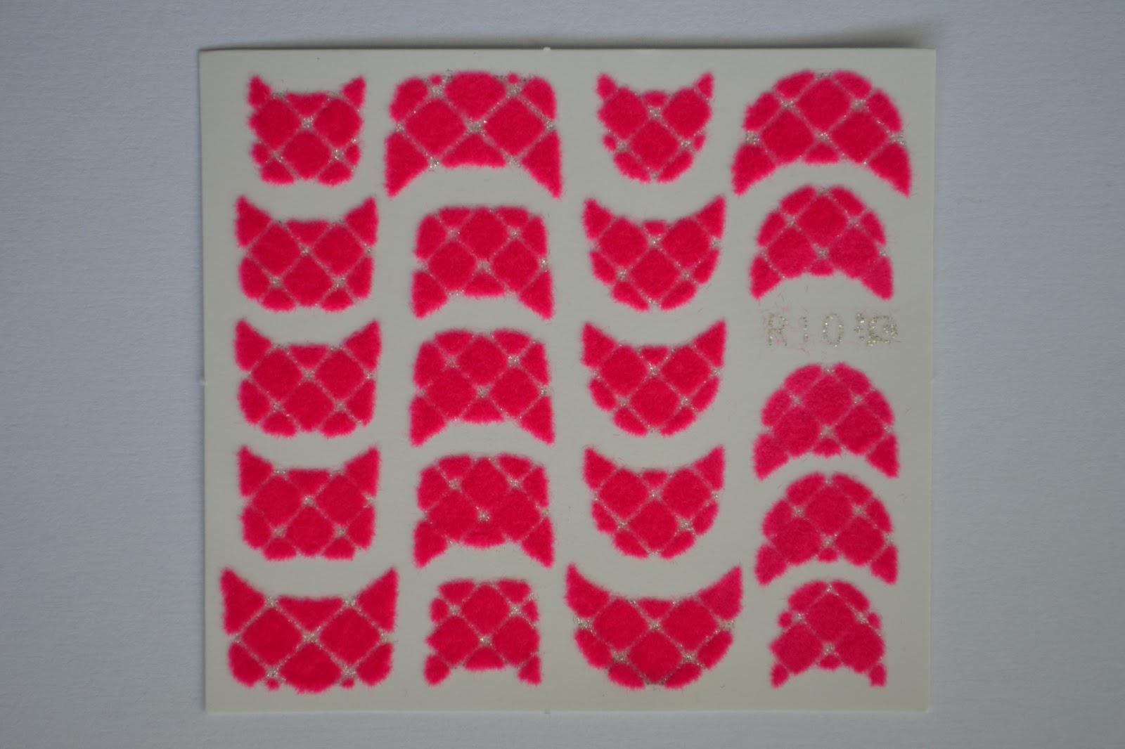 red white rhombus pattern fluffy sticker