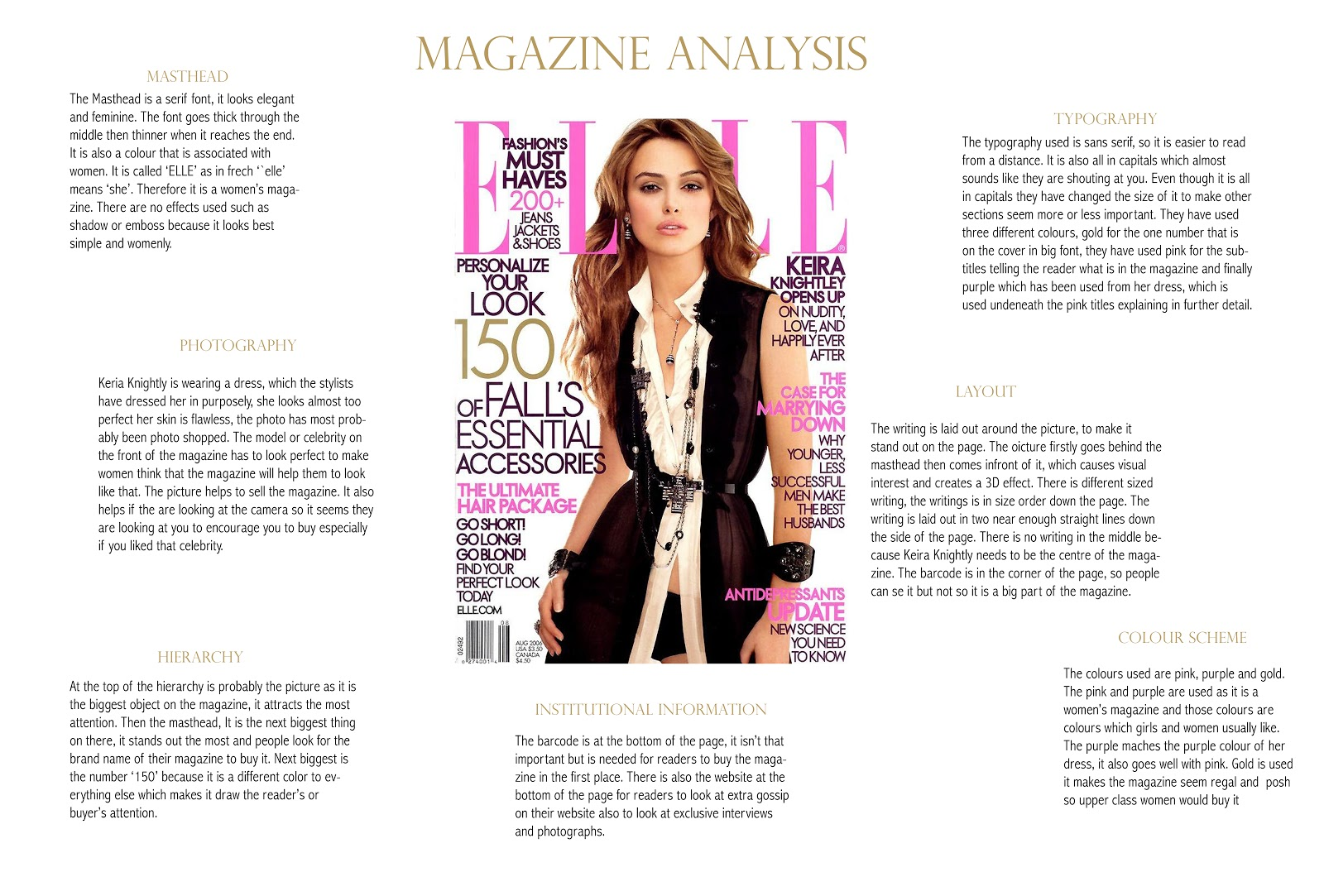 magazine analysis When researching magazine front covers i will analyse two types of magazine adverts by doing this i hope to gain a wide knowledge on how they work, therefore allowing me to be able to create my own.