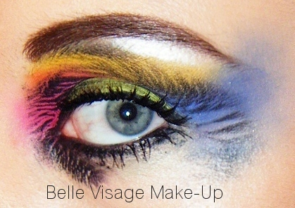 colourful zebra eye makeup look