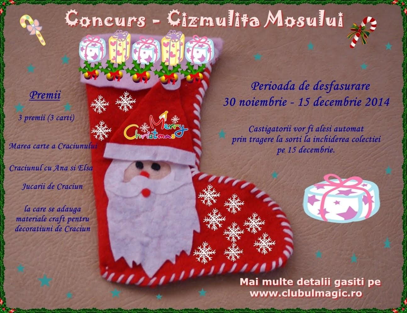Concurs Cizmulița Moșului - termen 15 decembrie