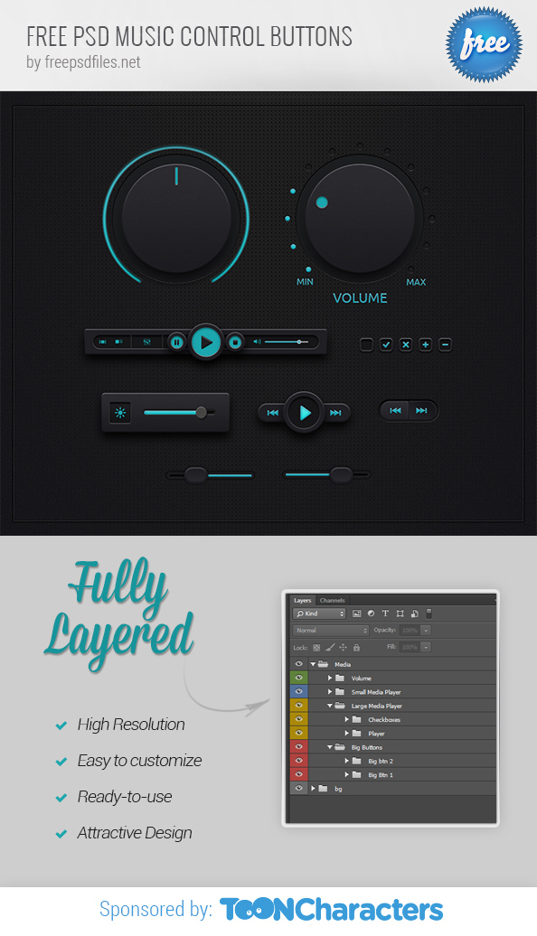 Music Control Buttons PSD