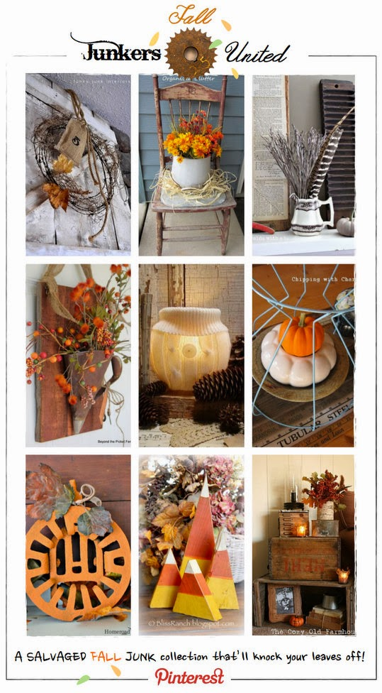 Autumn Decor Junkers United Fall Junk Projects Link Party and Pinterest board via http://knickoftimeinteriors.blogspot.com/